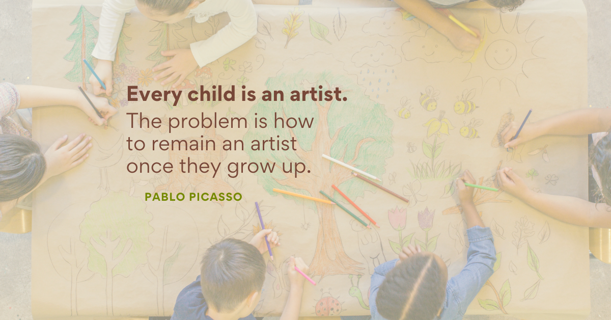 Every child is an artist. The problem is how to remain an artist  once they grow up.