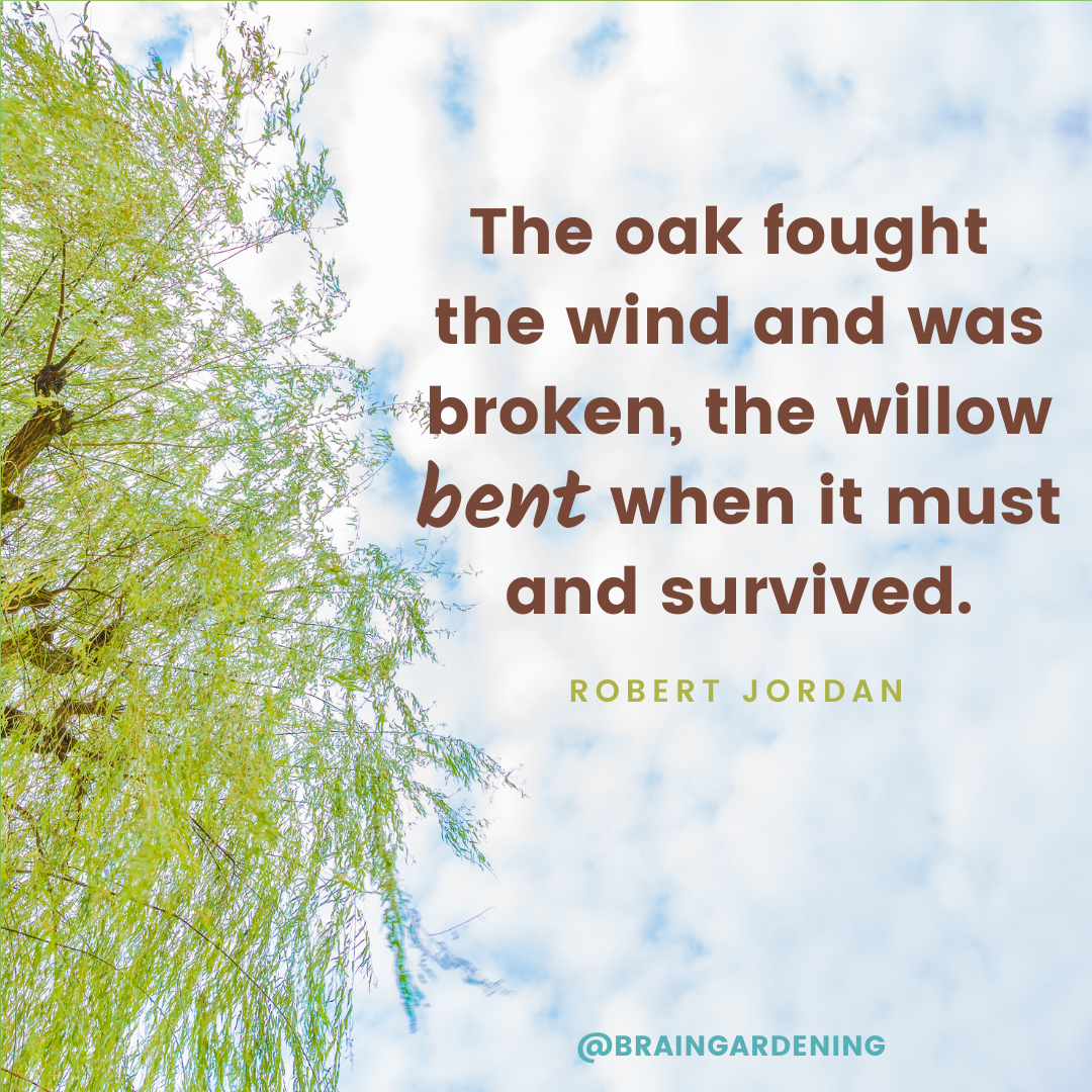The oak fought the wind and was broken, the willow bent when it must and survived